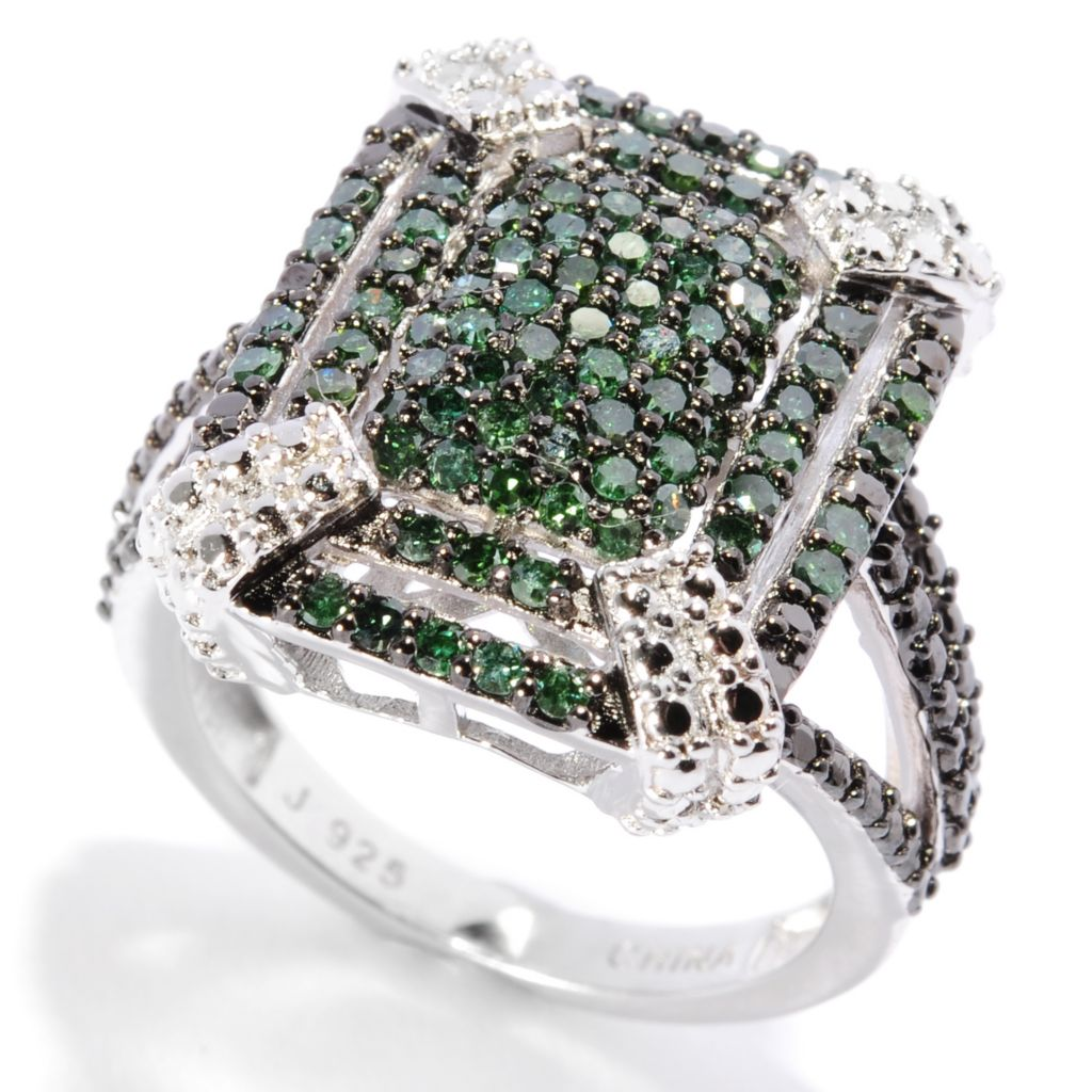 136-398 - Diamond Treasures Sterling Silver 1.02ctw Fancy Color Diamond Geometric Ring