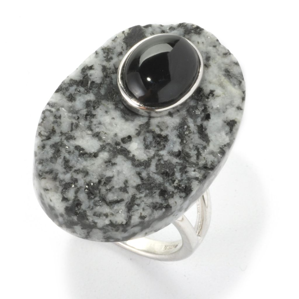 136-403 - JOYA by Judy Crowell Sterling Silver 30 x 20mm Oval Snowflake Obsidian & Black Agate Ring