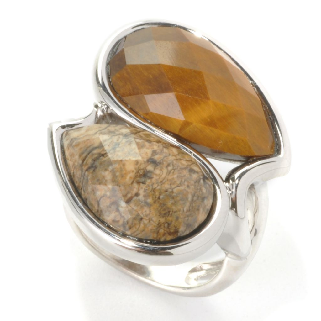 136-406 - JOYA by Judy Crowell Sterling Silver 20 x 11mm Tiger's Eye & Picture Jasper Bypass Ring