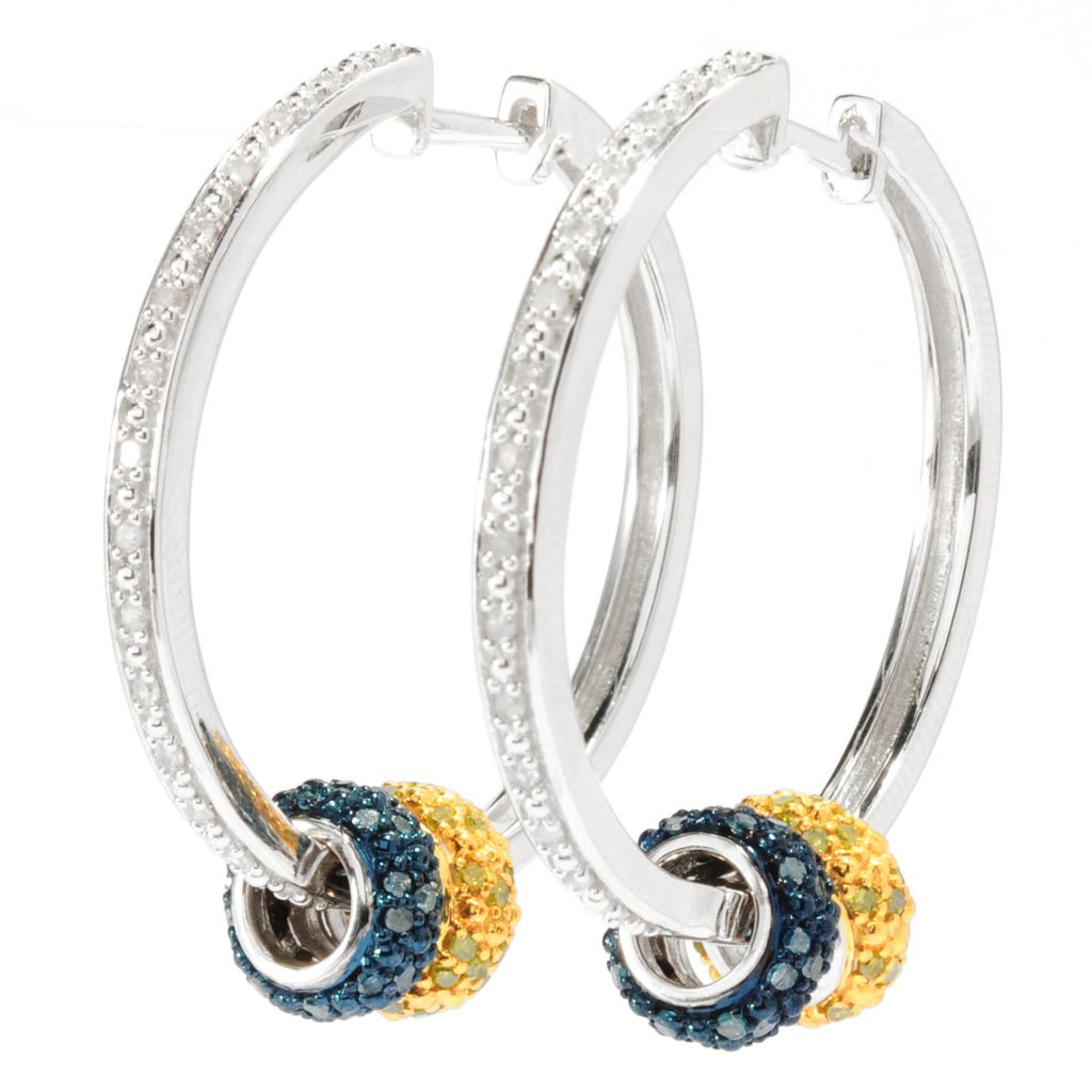 "136-416 - Sterling Silver 1"" 0.84ctw Diamond Hoop Earrings w/ Fancy Color Diamond Charms"