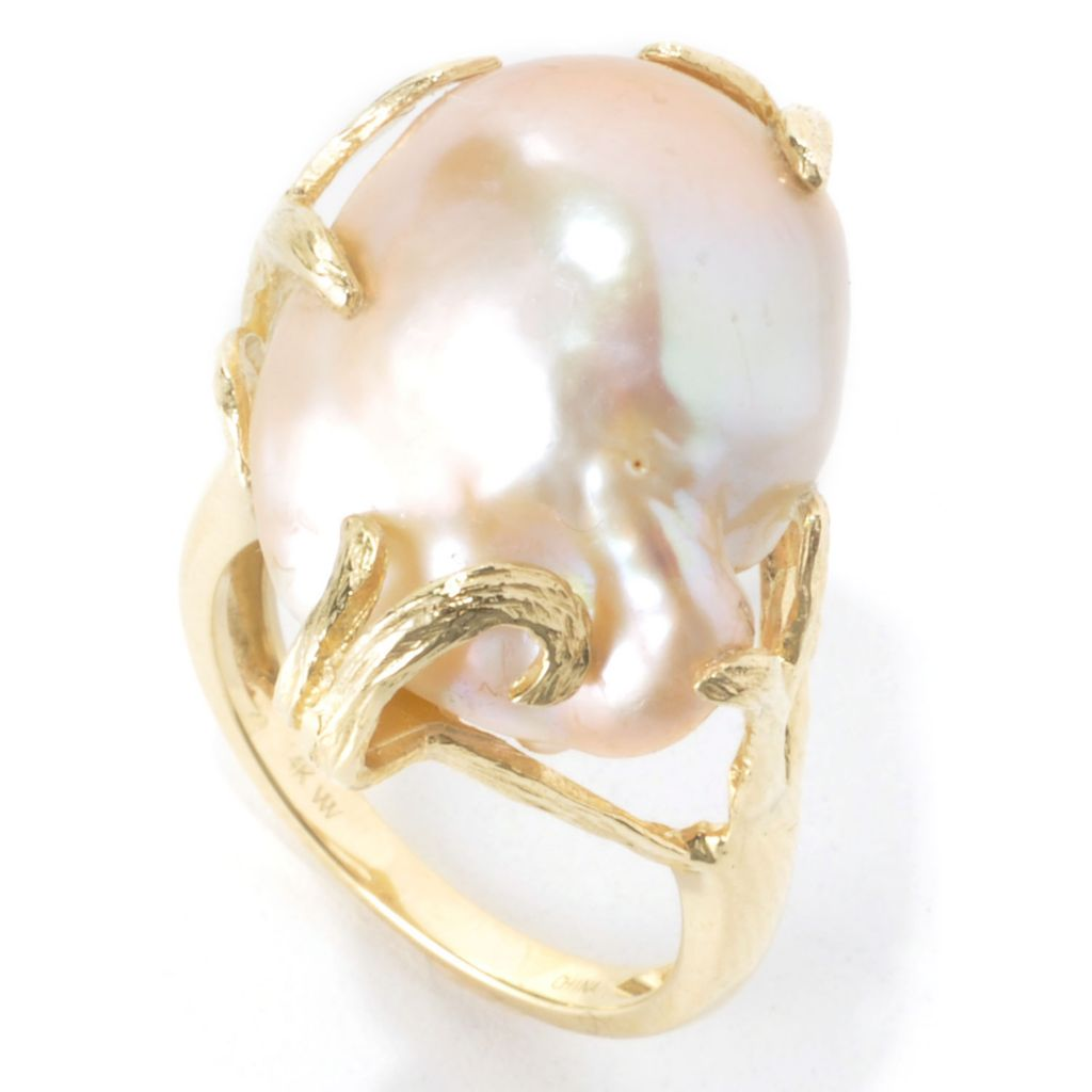 136-422 - 14K Gold 19 x 16mm Baroque Pink Freshwater Cultured Pearl Ring