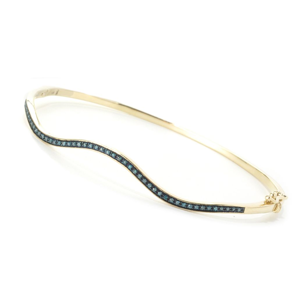 "136-427 - Diamond Treasures 14K Gold 7"" 0.15ctw Diamond Wave Bangle Bracelet"