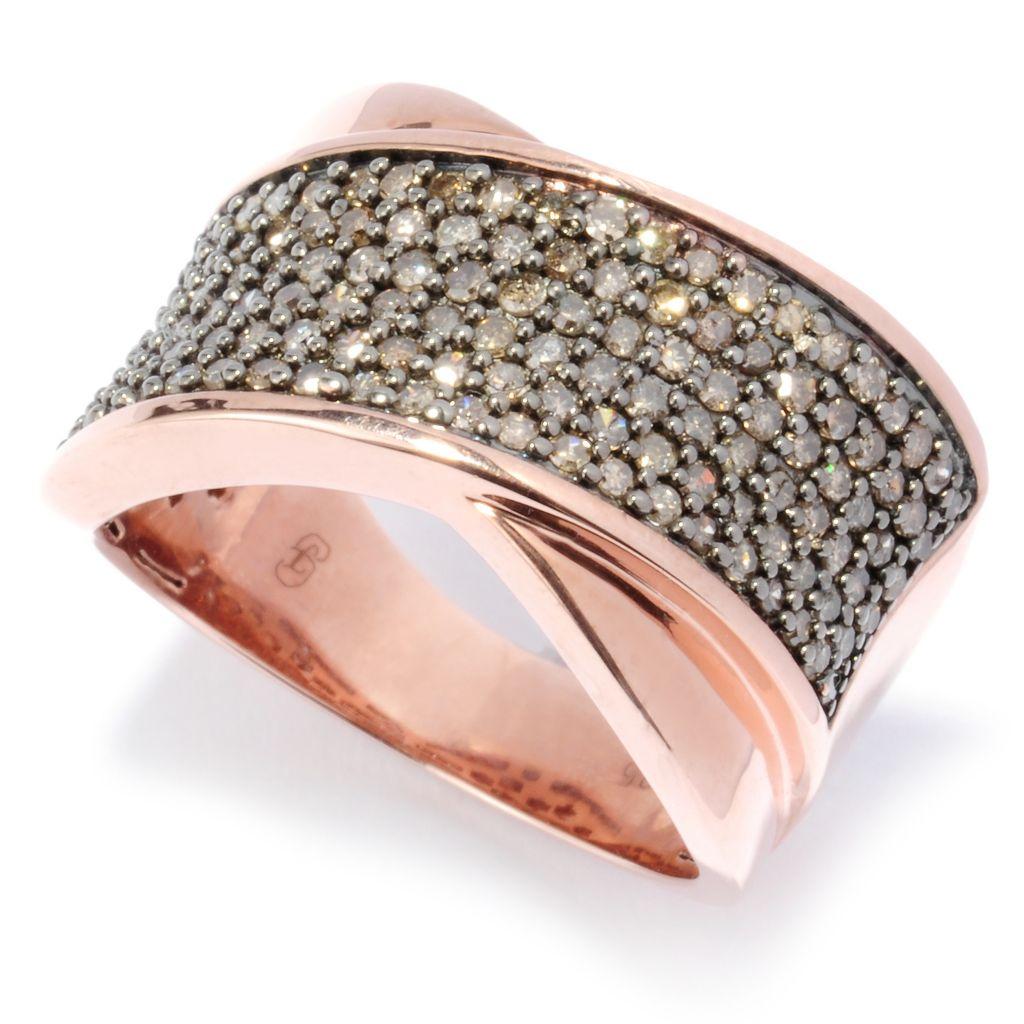 136-431 - Diamond Treasures 14K Gold Embraced™ Fancy Color Diamond Crisscross Band Ring
