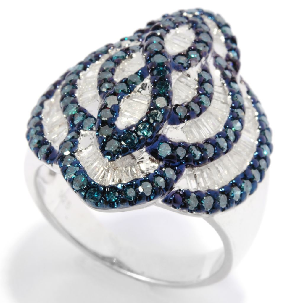 136-439 - Diamond Treasures Sterling Silver 1.84ctw Blue & White Diamond Multi Level Ring