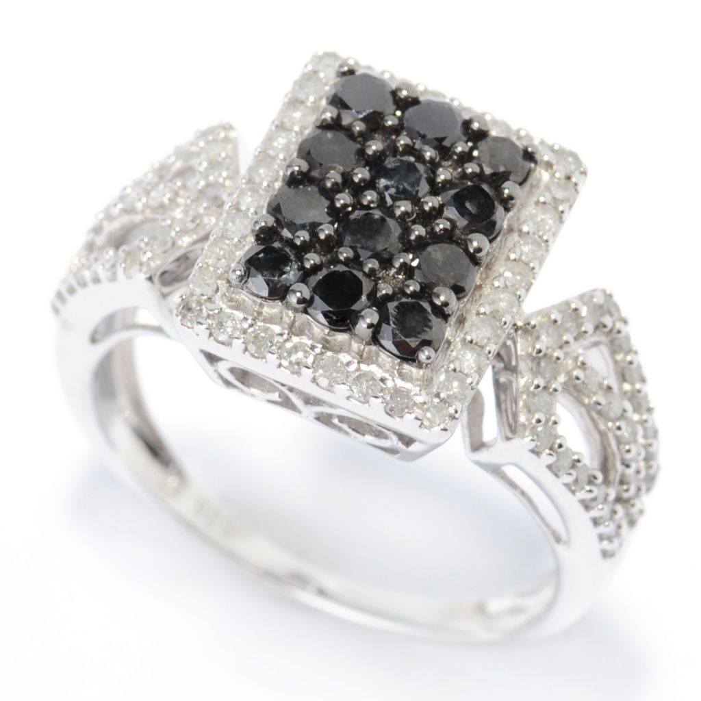136-440 - Diamond Treasures Sterling Silver 1.00ctw Black & White Diamond Rectangle Ring