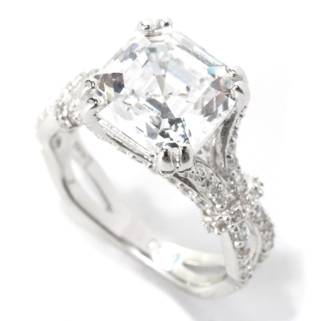 136-444 - Brilliante® Platinum Embraced™ 4.93 DEW Asscher Cut Simulated Diamond Woven Shank Ring