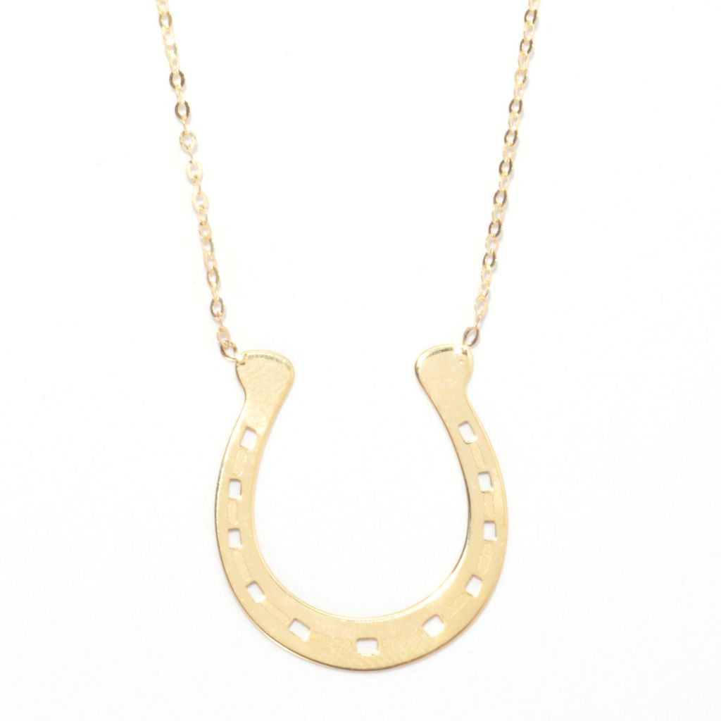 "136-450 - Italian Designs with Stefano 14K Gold 18"" Horseshoe Necklace, 1.04 grams"