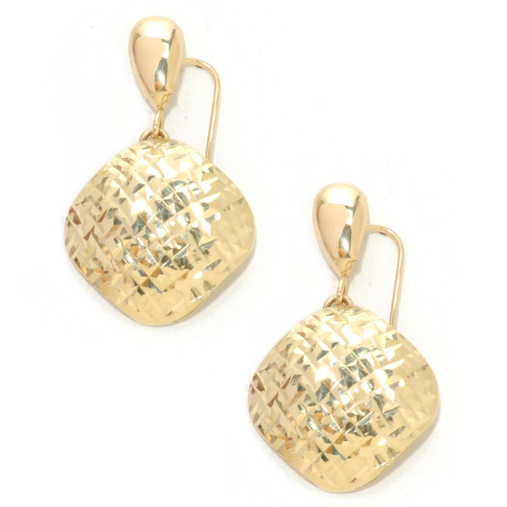 "136-459 - Italian Designs with Stefano 14K Gold 1.25"" Hammered Etrusca Drop Earrings"