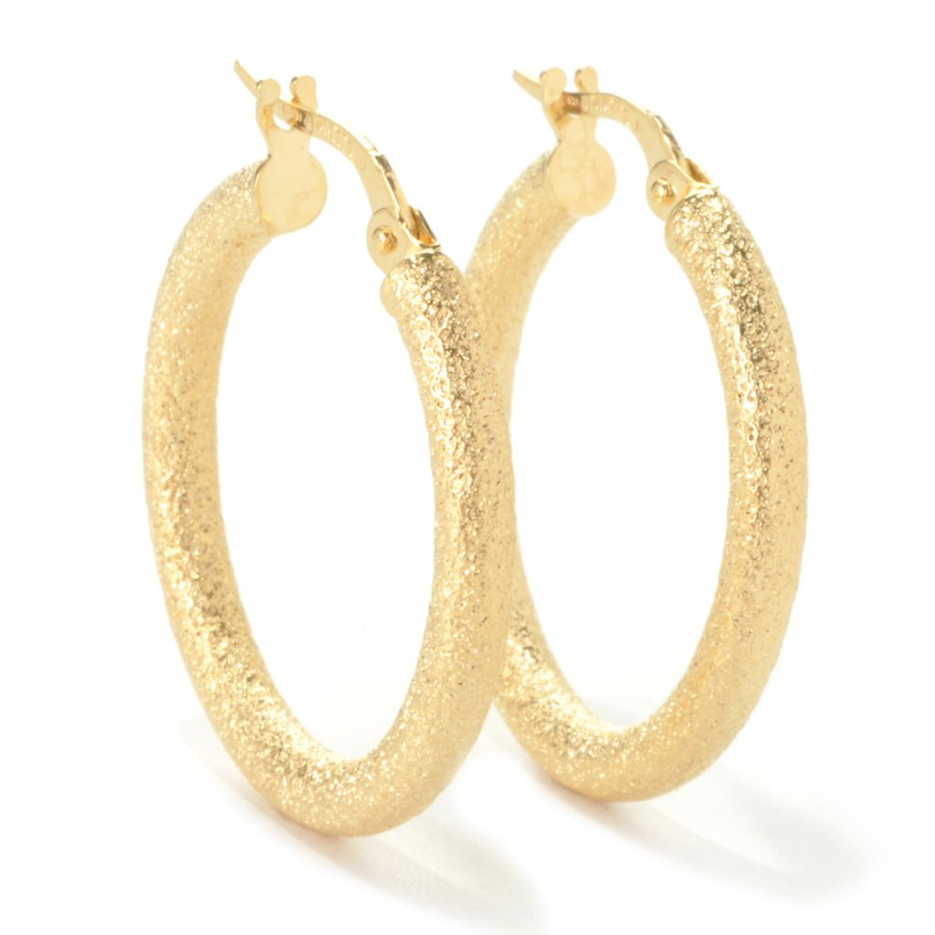 "136-462 - Italian Designs with Stefano 14K Gold 1"" Textured Hoop Earrings"
