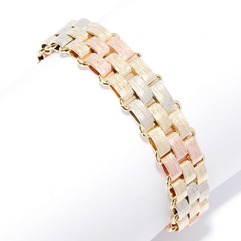 "136-471 - Italian Designs with Stefano 14K Tri-color Gold 8"" Link Bracelet, 13.39 grams"