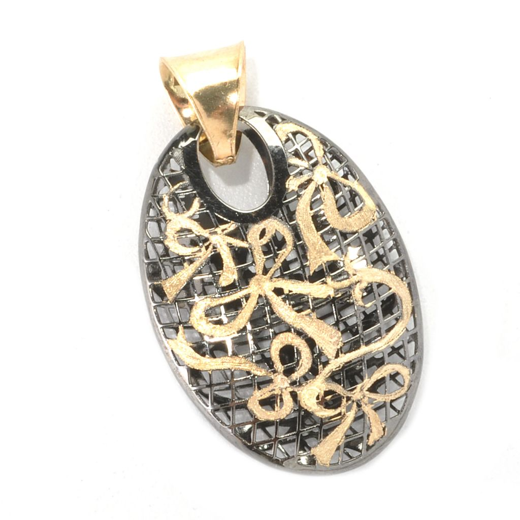 136-479 - Italian Designs with Stefano 14K Two-tone Gold Ricami Oval Net & Bow Pendant