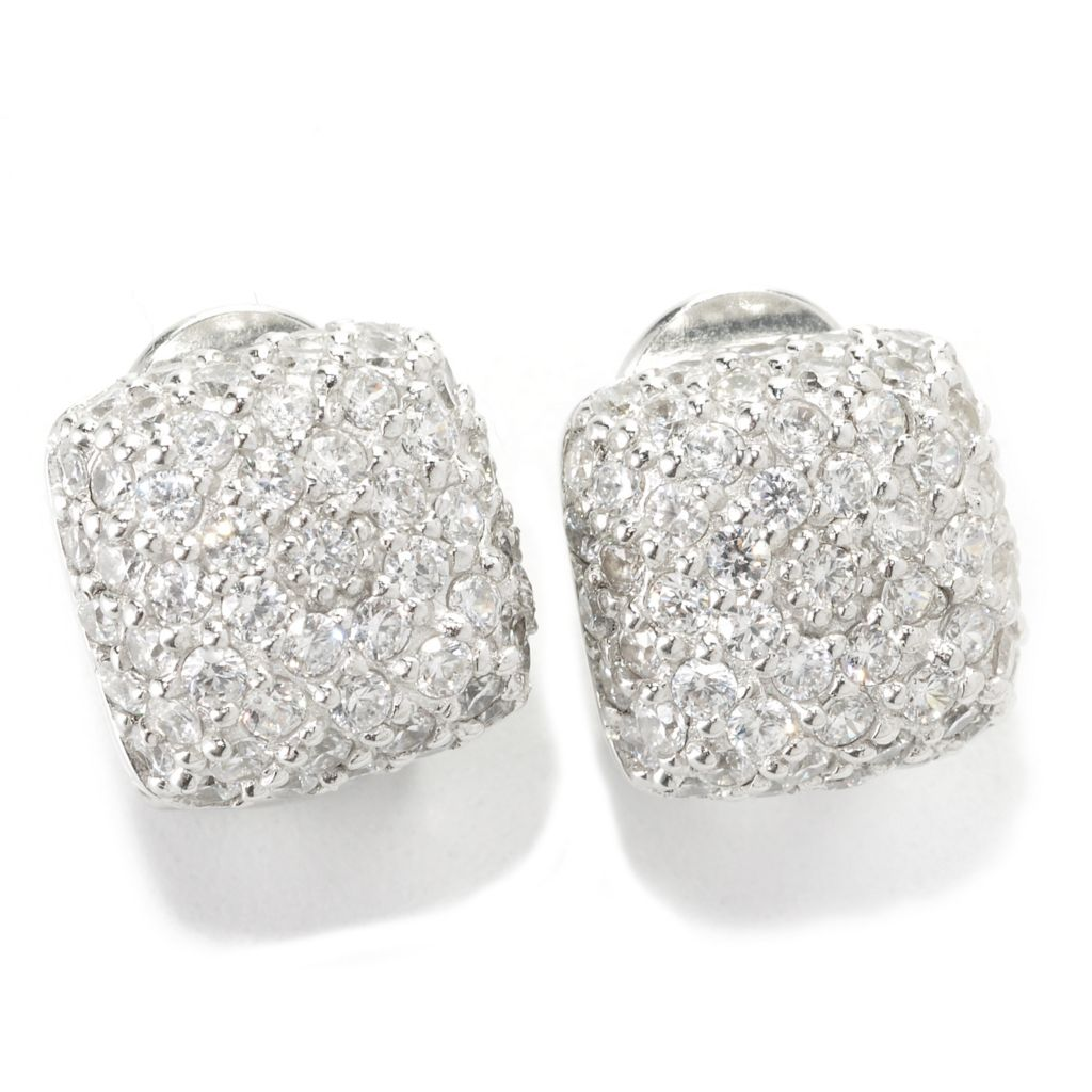 136-490 - Sonia Bitton Platinum Embraced™ 4.10 DEW Simulated Diamond Omega Back Square Earrings