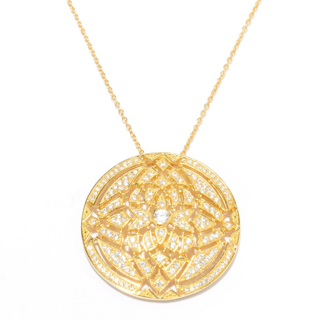 136-491 - Sonia Bitton 18K Gold Embraced™ 1.45 DEW Round Simulated Diamond Pendant with Chain