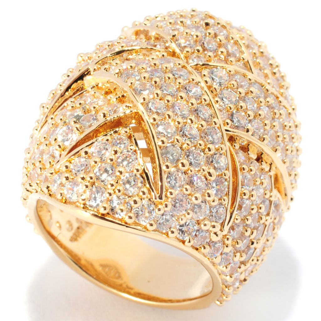 136-492 - Brilliante® 7.08 DEW Brilliant Cut Simulated Diamond Woven Shield Ring