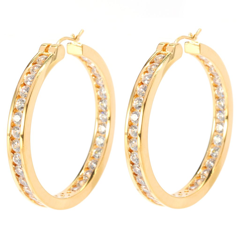 "136-495 - Brilliante® 1.5"" 5.28 DEW Simulated Diamond Inside-Out Hoop Earrings"