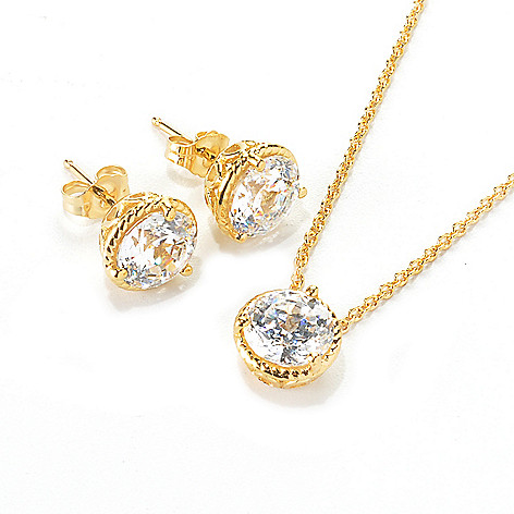 136-496 - Brilliante® 100-Facet Simulated Diamond Stud Earrings & Pendant Set