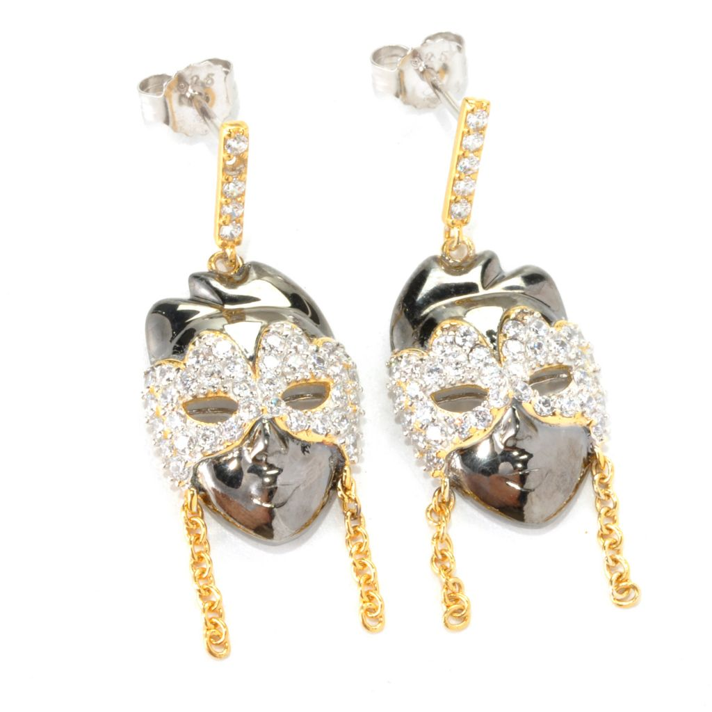 "136-497 - Sonia Bitton 18K Gold Embraced™ 1.50"" 1.23 DEW Simulated Diamond Mask Drop Earrings"