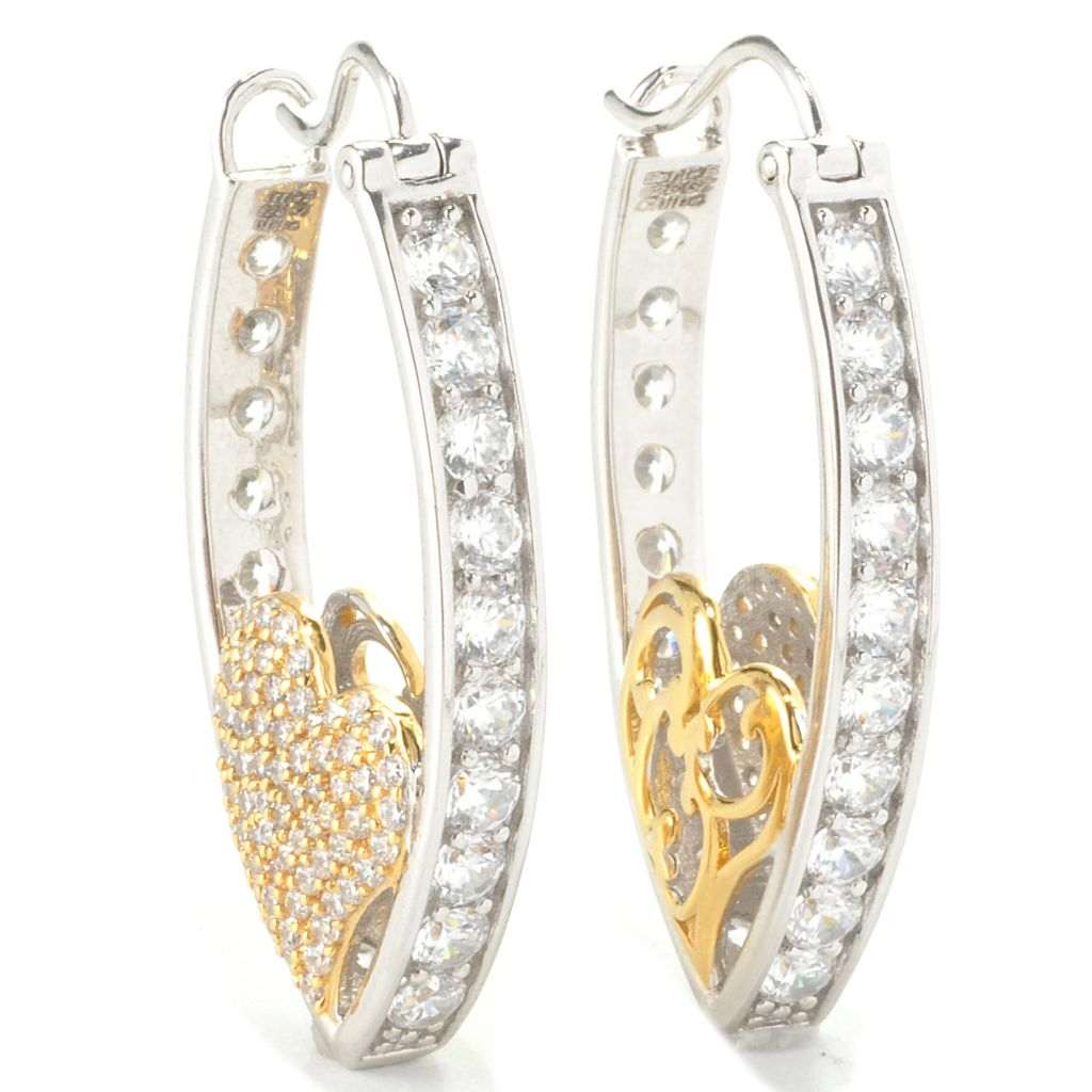 "136-498 - Sonia Bitton 1.5"" Two-tone 5.70 DEW Simulated Diamond Marquise Shaped Hoop Earrings"
