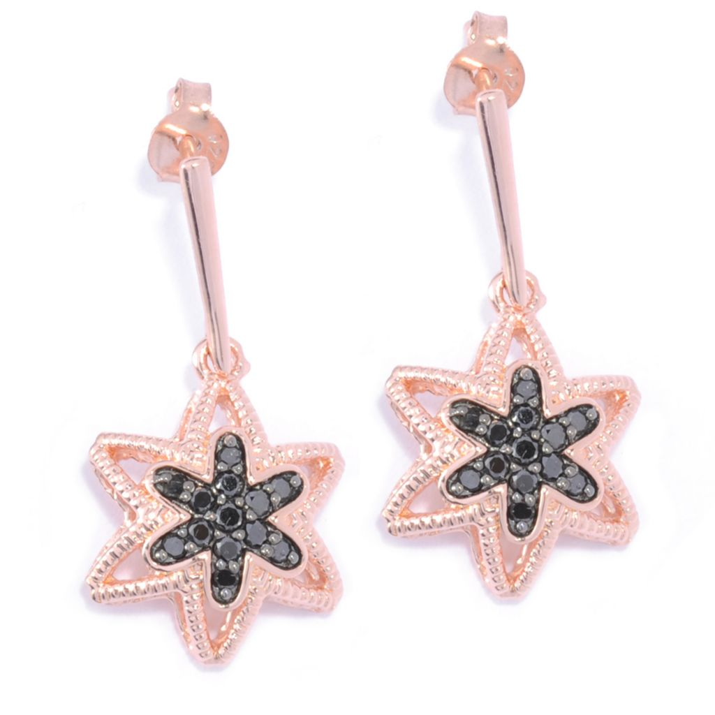 "136-503 - Diamond Treasures 1"" 14K Rose Gold Embraced™ 0.29ctw Black Diamond Star Drop Earrings"