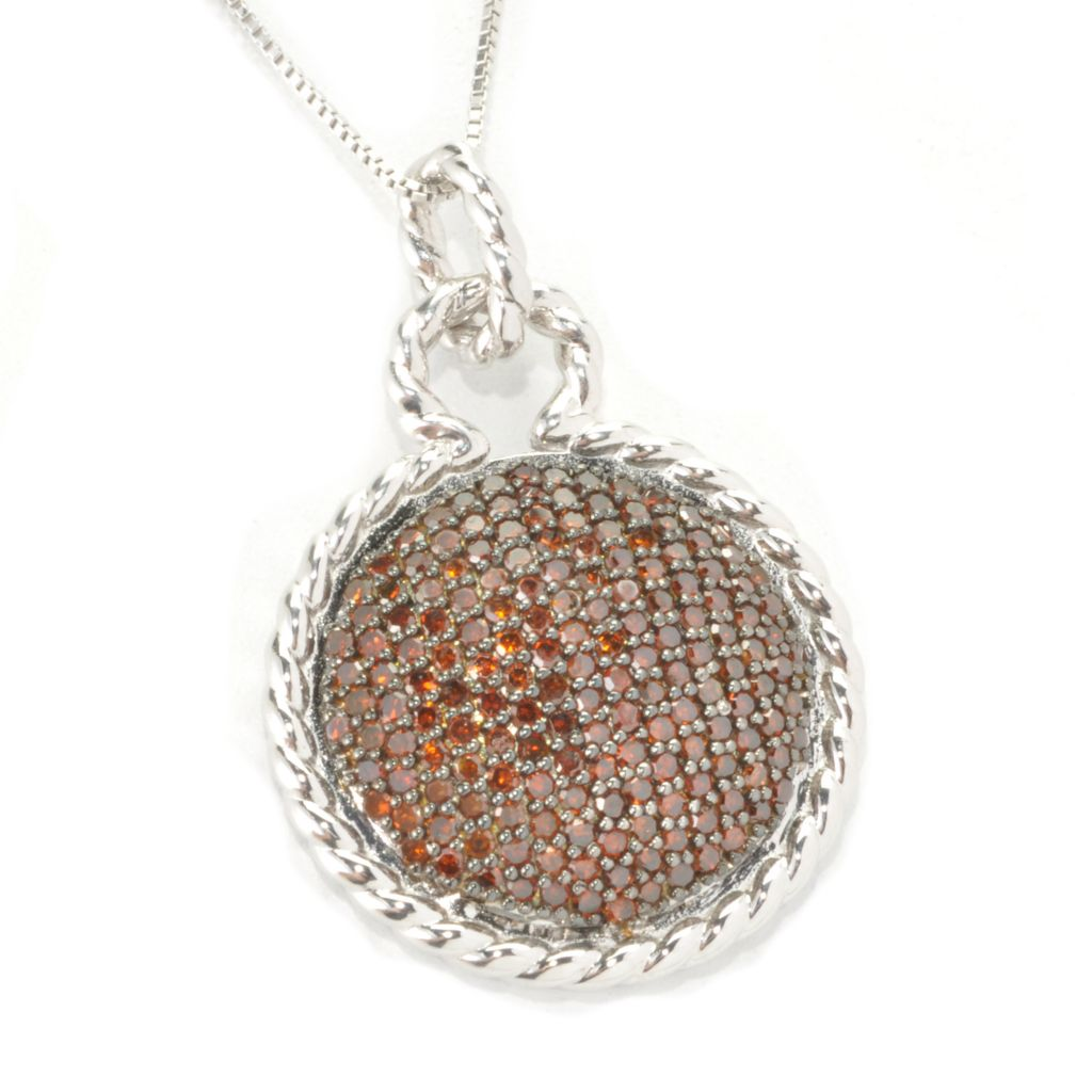 136-513 - Diamond Treasures Sterling Silver 1.00ctw Fancy Color Diamond Dome Pendant