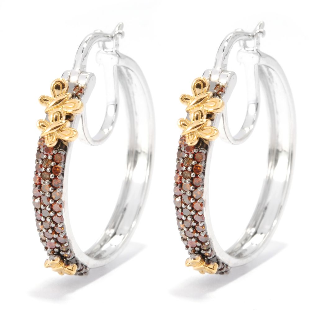 "136-518 - Diamond Treasures Two-tone 1"" 0.48ctw Fancy Color Diamond Hoop Earrings"