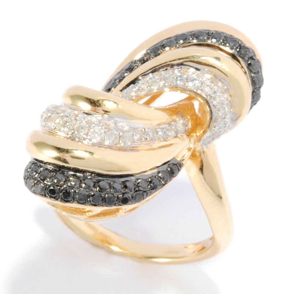 136-519 - Diamond Treasures Sterling Silver & 18K Vermeil 0.82ctw Black & White Diamond Ring