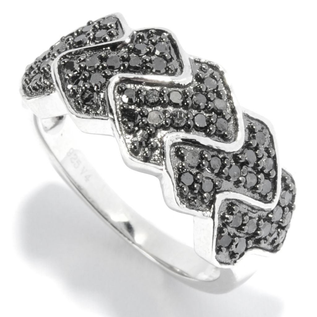 136-521 - Diamond Treasures Sterling Silver 0.45ctw Fancy Color Diamond Zigzag Band Ring