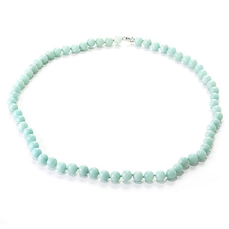 136-527 - Gem Treasures Sterling Silver 34'' 12mm Amazonite Bead Necklace