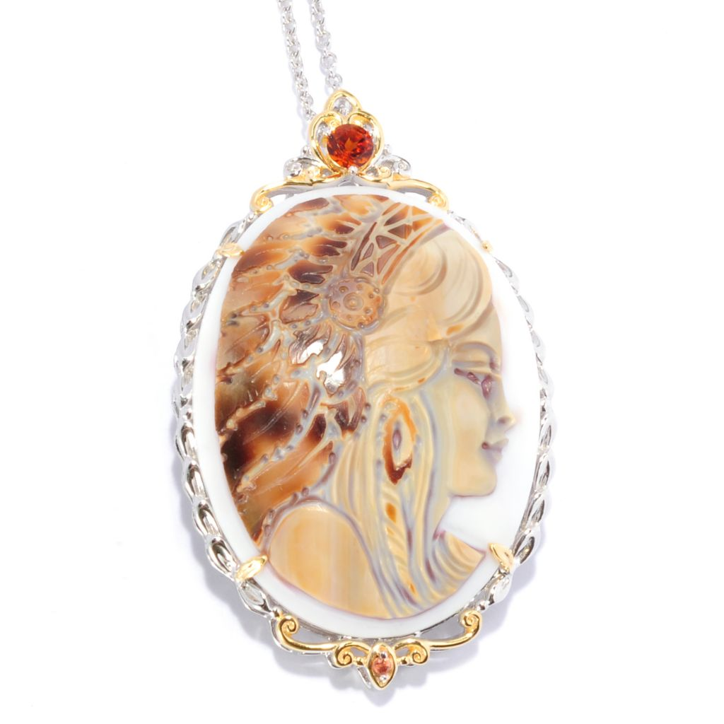 136-528 - Gems en Vogue II 40 x 30mm Carved Tiger Shell Warrior Cameo Pendant w/ Chain