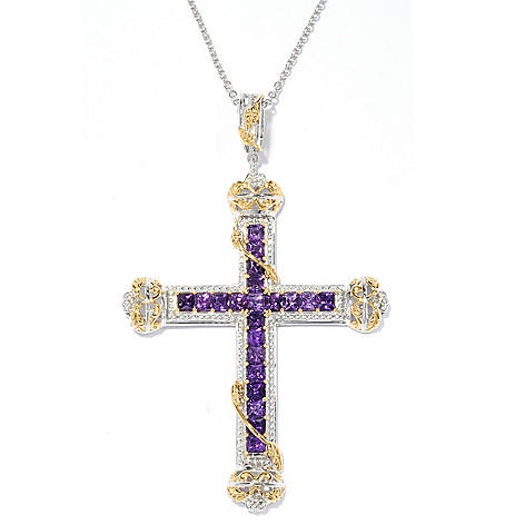 136-529 - Gems en Vogue 3.78ctw Princess Cut African Amethyst Cross Pendant w/ 18'' Chain