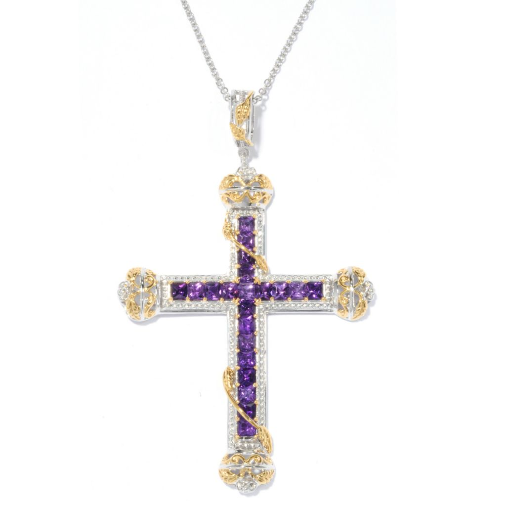 "136-529 - Gems en Vogue 3.78ctw Princess Cut African Amethyst Cross Pendant w/ 18"" Chain"