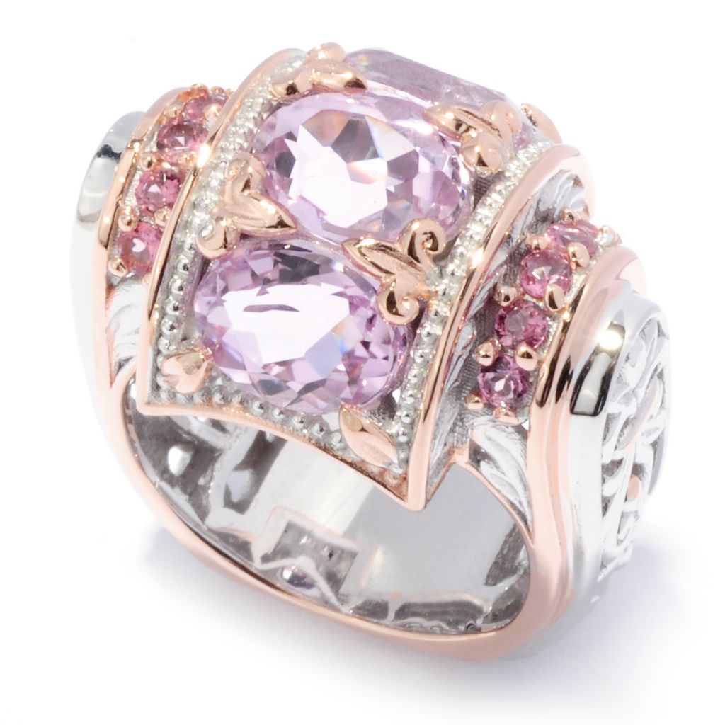 136-530 - Gems en Vogue II 4.99ctw Oval Kunzite & Pink Tourmaline Barrel Top Ring