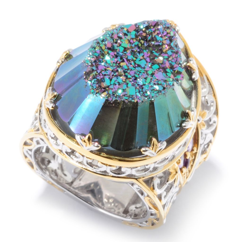 136-531 - Gems en Vogue II 25 x 18mm Pear Shaped Drusy & African Amethyst Scrollwork Ring
