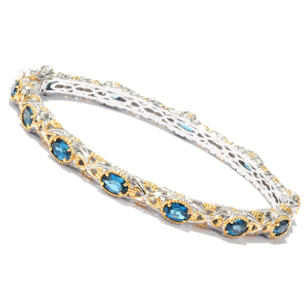 "136-534 - Gems en Vogue II 7.25"" 7.20ctw Oval London Blue Topaz Hinged Bangle Bracelet"