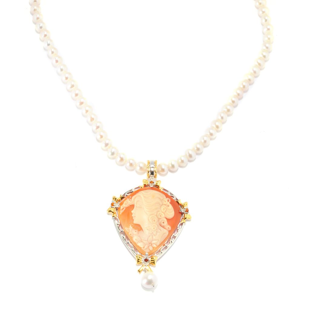 136-535 - Gems en Vogue 38 x 35mm Carved Italian Shell Cameo, Freshwater Cultured Pearl & Citrine Necklace