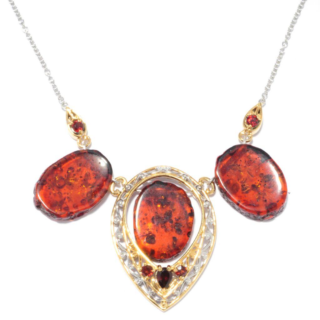 136-536 - Gems en Vogue II 20 x 15mm Freeform Baltic Amber & Almandite Garnet Necklace