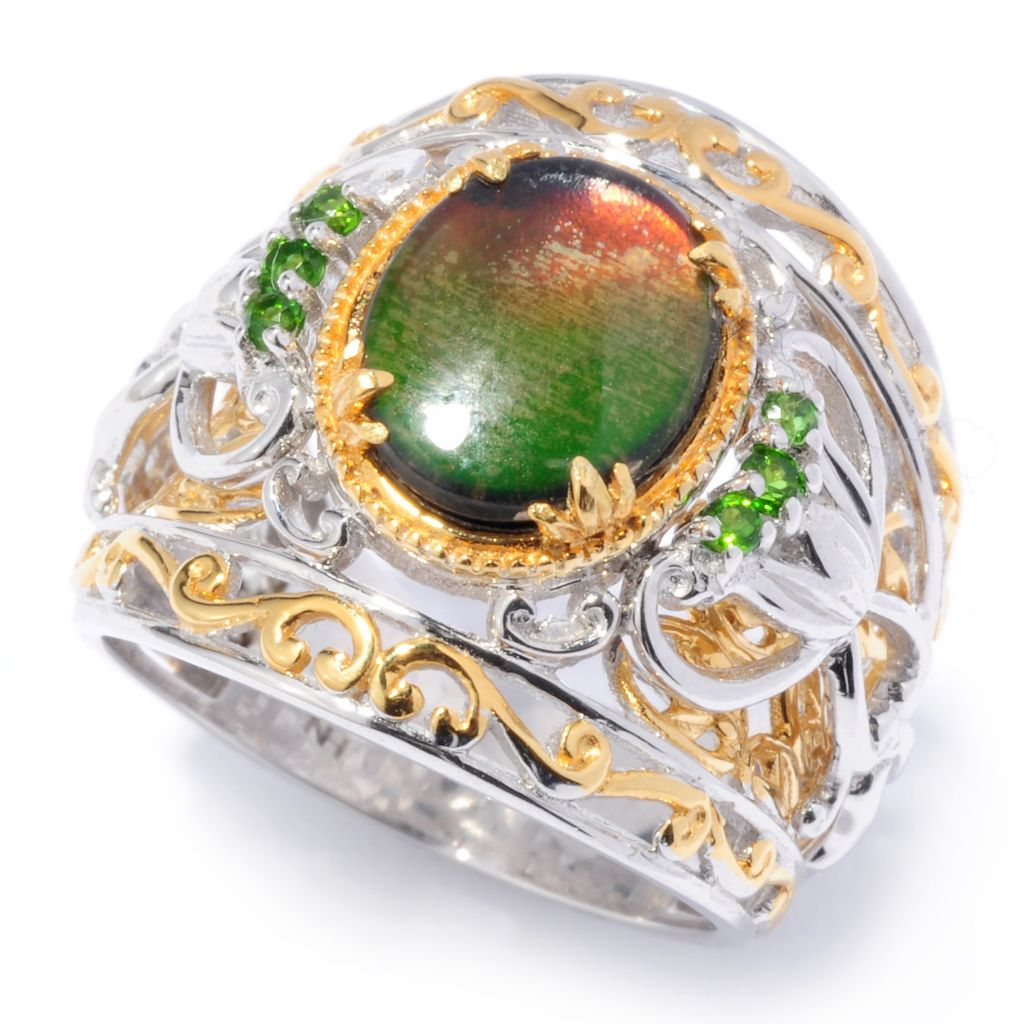 136-537 - Gems en Vogue 10 x 8mm Ammolite Triplet & Chrome Diopside Wide Band Ring
