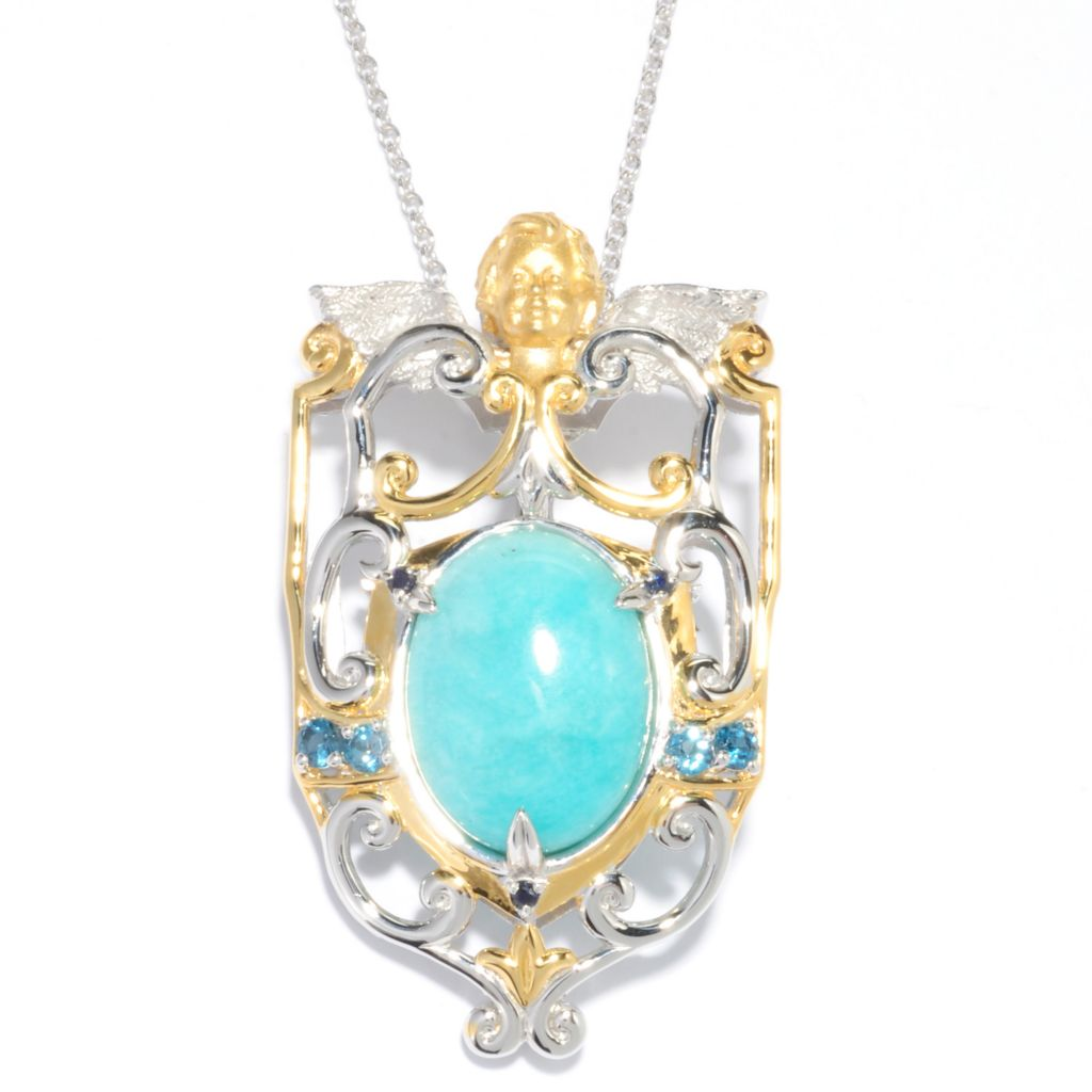 136-539 - Gems en Vogue II 20 x 15mm Oval Amazonite & Multi Gem Cherub Enhancer Pendant w/ Chain