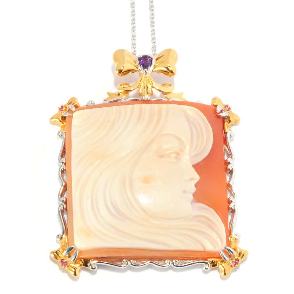 136-540 - Gems en Vogue 40mm Hand-Carved Italian Shell Portrait Cameo & Multi Gem Pendant w/ Chain