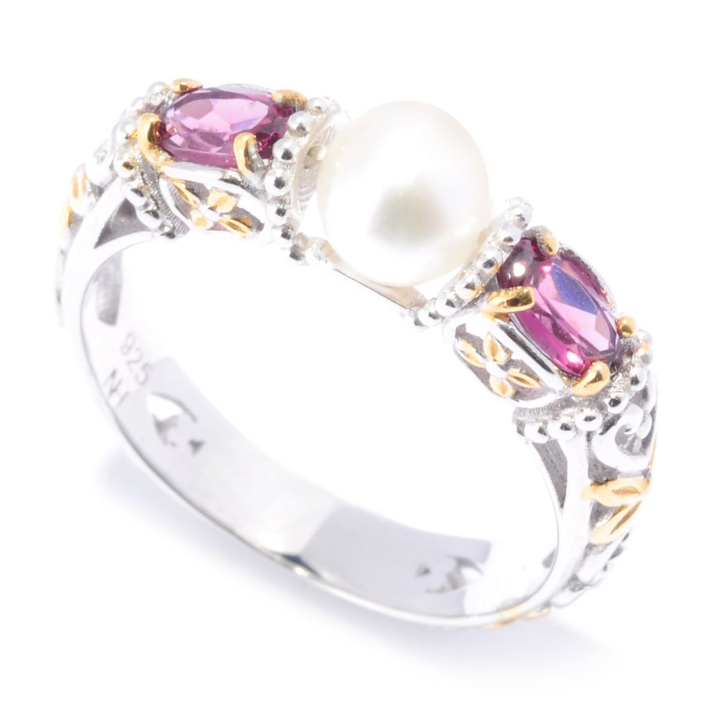 136-541 - Gems en Vogue II 5mm Freshwater Cultured Pearl & Gemstone Stack Band Ring