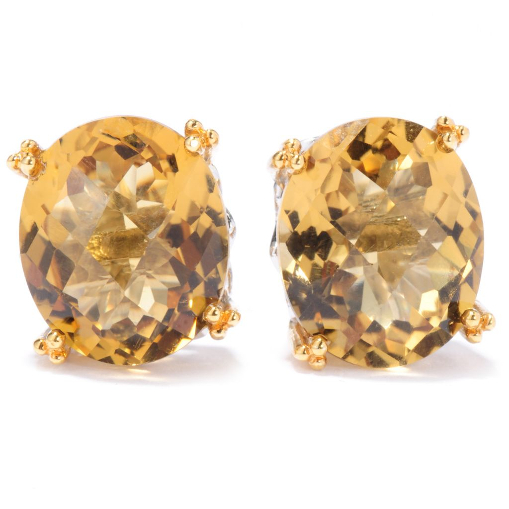 136-543 - Gems en Vogue 9.00ctw Checkerboard Cut Zambian Citrine Stud Earrings
