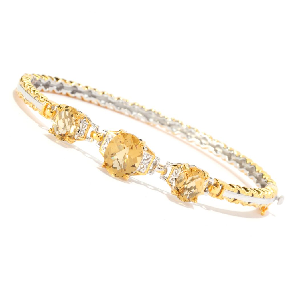 136-544 - Gems en Vogue II 6.61ctw Oval Zambian Citrine Three-Stone Hinged Bangle Bracelet