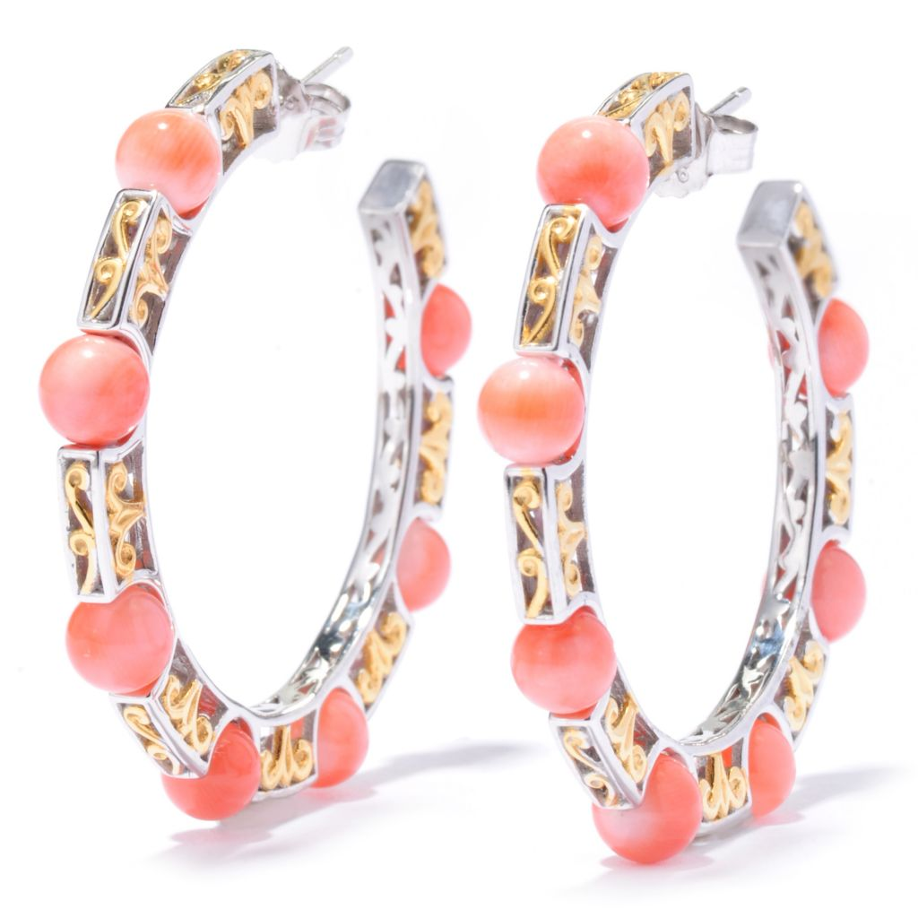 "136-545 - Gems en Vogue 1.5"" Japanese Momo Coral Hoop Earrings"