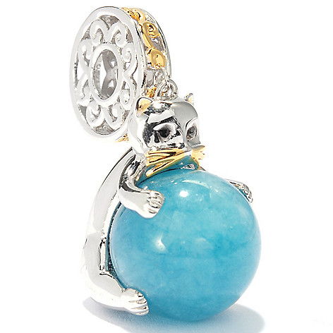 136-552 - Gems en Vogue II 12mm Round Gemstone Bead Kitten Drop Charm
