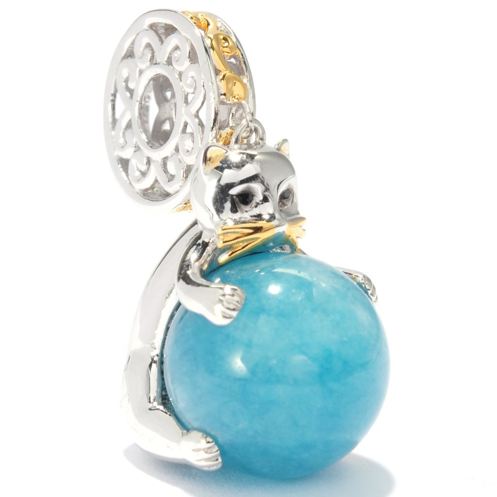 136-552 - Gems en Vogue 12mm Round Gemstone Bead Kitten Drop Charm