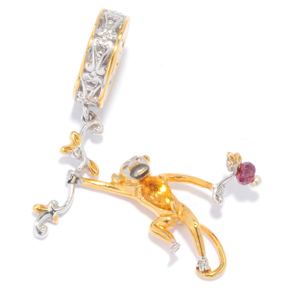 136-554 - Gems en Vogue II Citrine & Rhodolite Garnet Dangling Monkey Drop Charm