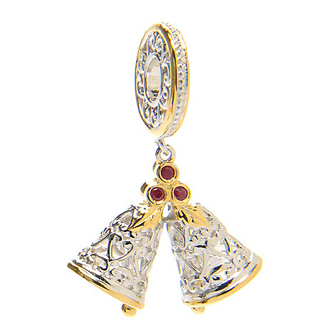 136-559 - Gems en Vogue Round Ruby Double Bells Drop Charm