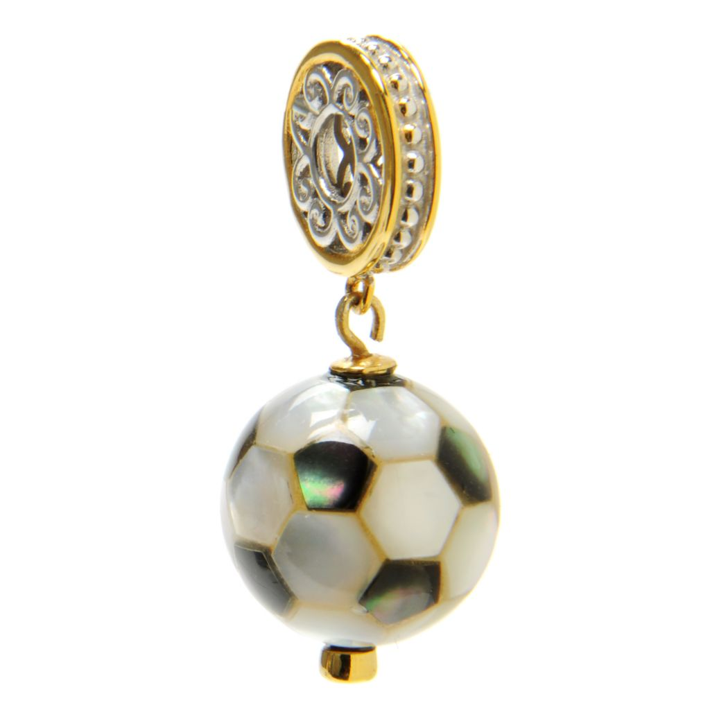 136-561 - Gems en Vogue II 13.5mm White Mother-of-Pearl & Sapphire Soccer Ball Drop Charm