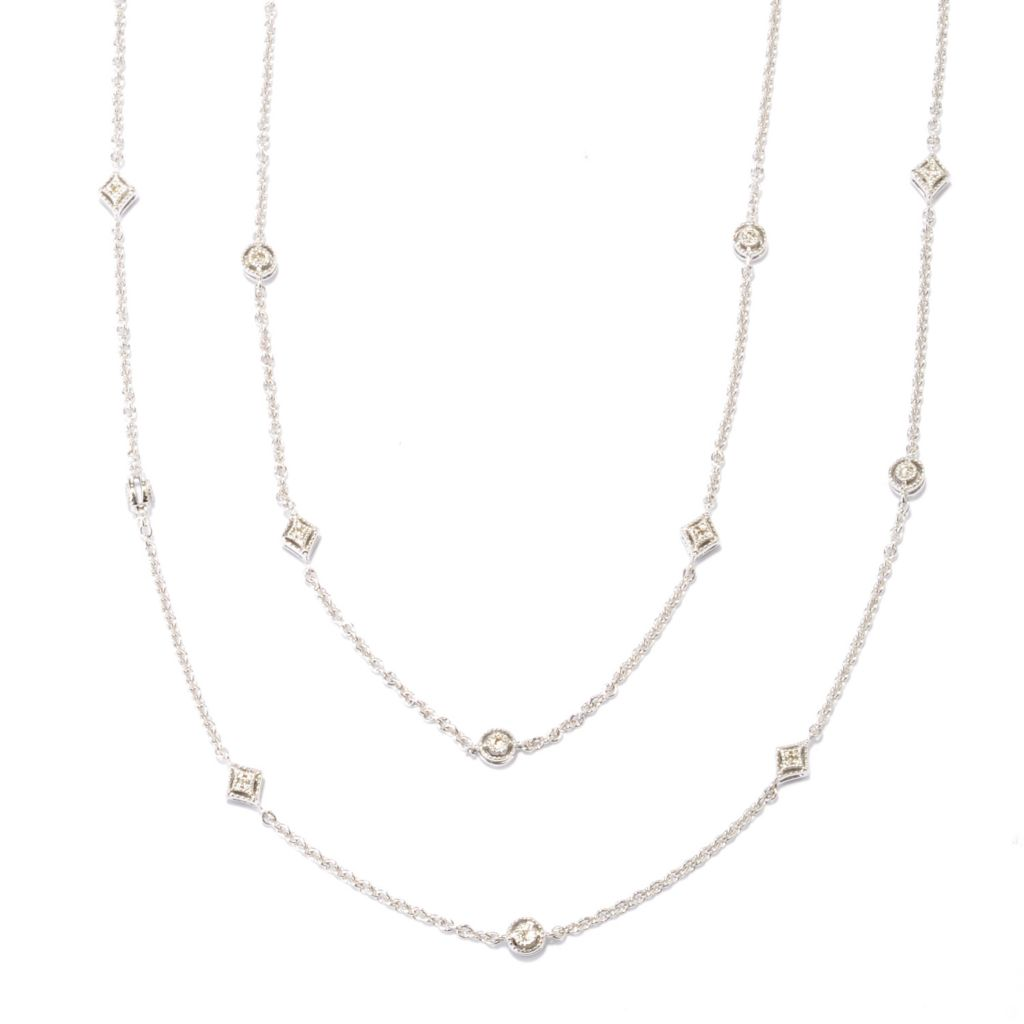 "136-565 - Ultimate Silver™ 54"" 0.82ctw Brilliant Cut Diamond Station Necklace"