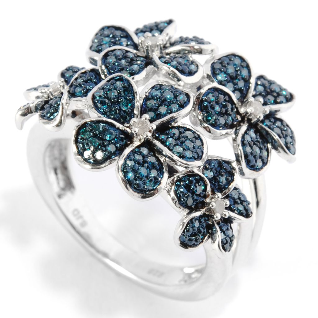 136-566 - Diamond Treasures Sterling Silver 0.49ctw Blue & White Diamond Multi Flower Ring
